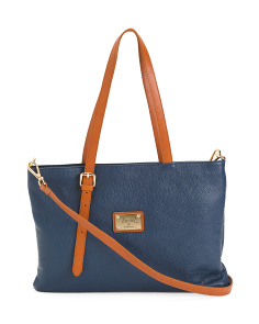 Made In Italy Leather Tote With Elongated Handle