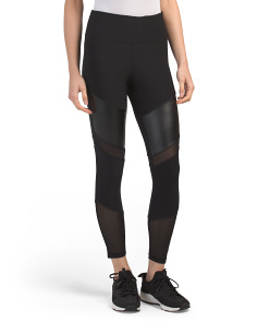 Faux Leather & Power Mesh Leggings