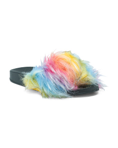 Multicolored Faux Fur Slide Sandals