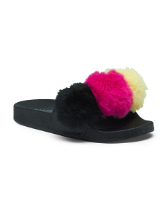 Multicolored Pom Faux Fur Slide Sandals