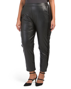 Plus Ruffle Trim Faux Leather Pants
