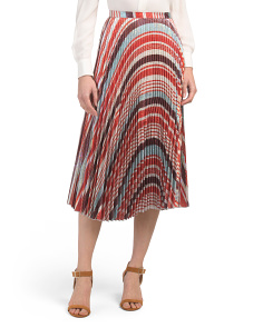 Made In Usa Clara Striped Pleated Skirt
