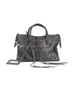 Made In Italy Silver Stud Top Handle Bag