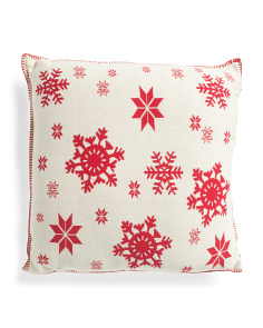 Made In India 20x20 Snowflake Knit Pillow