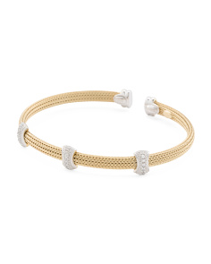 Made In Italy Two Tone Sterling Silver Cz Station Bracelet