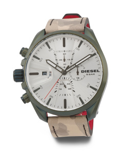 Men's Ms9 Chrono Camo Print Leather Strap Watch