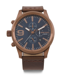 Men's Rasp Chrono Leather Strap Watch