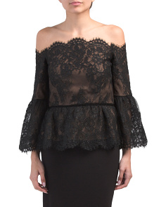 Off The Shoulder Lace Top With Bell Sleeves