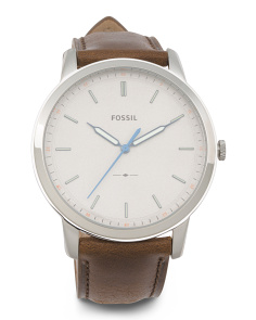 Men's Minimalist Leather Strap Watch