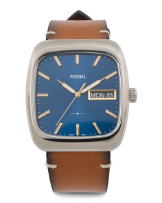 Men's Rutherford Geometric Curved Leather Strap Watch