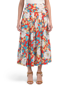 D Ring Wrap Style Silk Midi Skirt