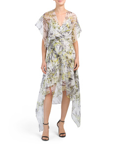 Printed Overlay Asymmetric Hem Dress