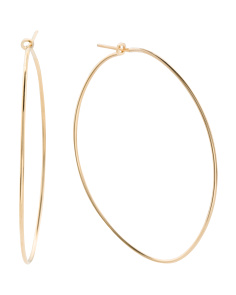 Made In Italy Gold Plated Sterling Silver Oval Hoop Earrings