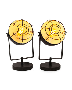 Set Of 2 Steel Lamps