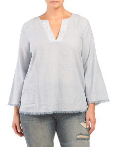 Plus Frayed Three-quarter Sleeve Blouse