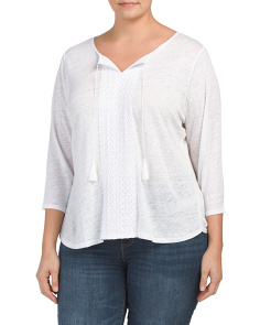 Plus Lace Trim Linen Henley