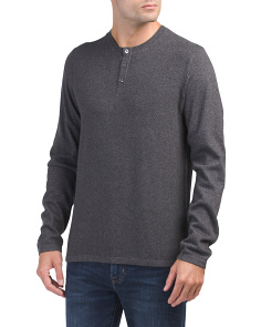 Jersey Mix Stitch Long Sleeve Henley