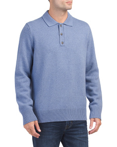 Wool & Cashmere Long Sleeve Polo