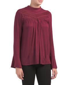 Mock Neck Lace Detail Top
