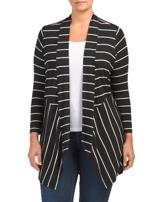 Plus Long Sleeve Striped Cardigan
