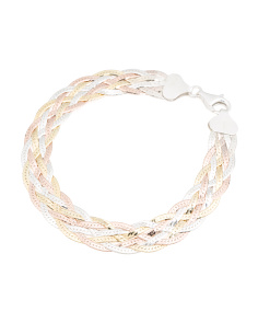 Made In Italy Tri Tone Sterling Silver Braided Bracelet