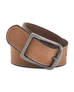 Men's Leather Panel Belt With Stitch & Center Bar