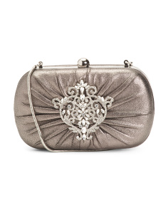 Diva Metallic Kid Suede Minaudiere Clutch