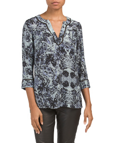 Silk Kiku Print Top