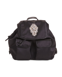Gamma Large Satin Nylon Backpack With Jeweled Front