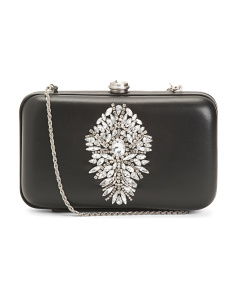Jeweled Leather Clutch