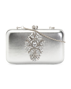 Leather Metallic Clutch With Jeweled Front
