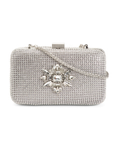 Leather Prize Evening Clutch With Jeweled Front