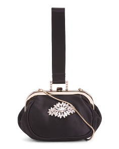 Satin Addison Clutch With Front Ornament