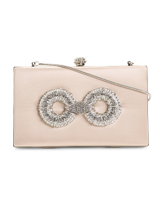 Satin Care Embellished Clutch With Shoulder Strap