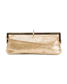 Satin Dazzle Sequin Frame Clutch
