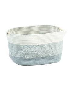 Large Striped Oval Storage Basket
