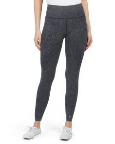 Ankle Length Stonewash Raised Line Seamless Leggings