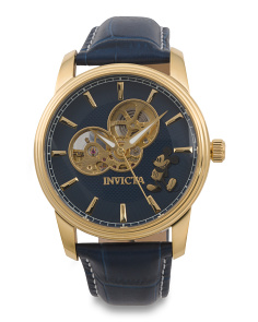 Men's Automatic Limited Edition Mickey Mouse Leather Strap Watch