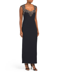 Petite Cap Sleeve Gown With Lace Detail