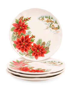 4pk Holiday Florals Dinner Plates