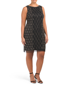 Plus Sleeveless Diamond Pattern Sheath Dress