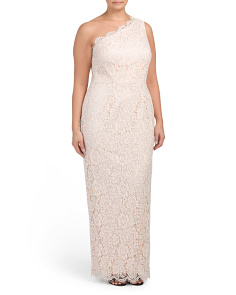 Plus One Shoulder Column Sheath Gown