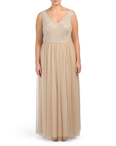 Plus V Neck Sleeveless Gown
