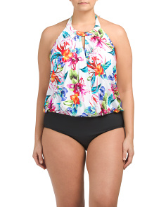 Plus Tropical High Neck Blouson Swimsuit