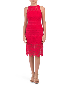 Petite Lace Border Sheath Dress