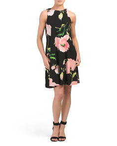 Sleeveless Printed Trapeze Dress