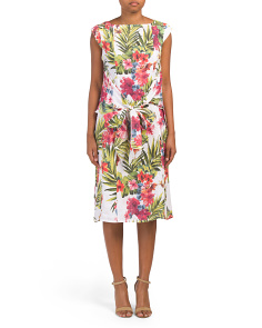 Made In Italy Linen Tropical Print Midi Dress
