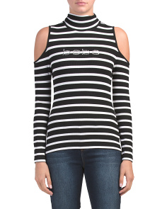Mock Cold Shoulder Striped Top