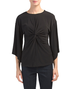 Made In Usa Kimono Sleeve Twist Front Top