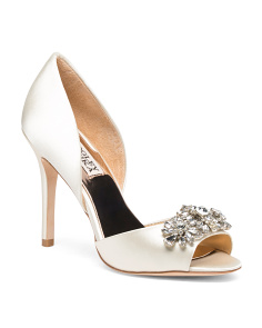 Crystal Embellished Peep Toe Evening Shoes